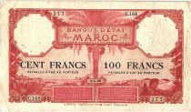 Morocco 100 Francs 01-04-1926 - F to VF - Serial C.166 - P.14