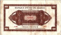 Morocco 1000 Francs Brown - 01-03-1944