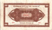 Morocco 1000 Francs Brown - 01-08-1943