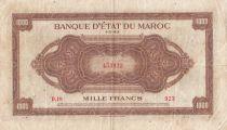 Morocco 1000 Francs Brown - ABNC - 01-05-1943 - Serial D.19