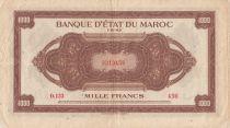 Morocco 1000 Francs Brown - ABNC - 01-08-1943 - Serial O.133 - VF - P.28