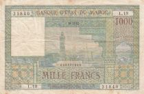 Morocco 1000 Francs City of Marrakech - 10-12-1952 - Good- Serial L.18 - P.47