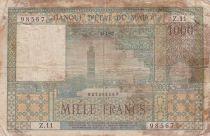 Morocco 1000 Francs City of Marrakech - 18-01-1952 - Good- Serial Z.11 - P.47