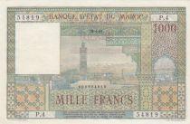 Morocco 1000 Francs Marrakech - View of La Koutoubia in Marrakech - 1951 - Serial P.4 - XF to AU - P.47