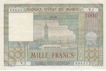 Morocco 1000 Francs Marrakech - View of La Koutoubia in Marrakech - 1951 - Serial V.2 - XF to AU - P.47
