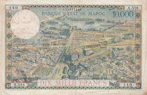 Morocco 100Dirhams on 10000 Francs OVERPRINT 02-08-1955 - Serial A.518- VF - P.52