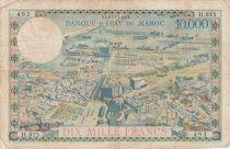 Morocco 100Dirhams on 10000 Francs OVERPRINT 02-08-1955 - Serial H.815 - F - P.52