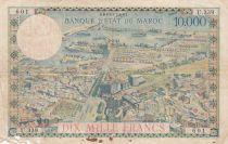 Morocco 100Dirhams on 10000 Francs OVERPRINT 02-08-1955 - Serial U.339 - G to F - P.52