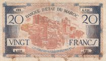 Morocco 20 Francs - 1943 - F to VF - Serial A..036 - P.39