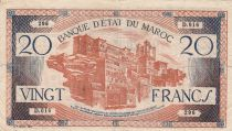 Morocco 20 Francs - 1943 - F to VF - Serial D.016 - P.39