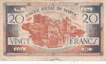 Morocco 20 Francs - 1943 - Fine - Serial F.219 - P.39