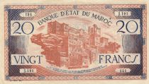 Morocco 20 Francs - 1943 - VF to XF - Serial J.131 - P.39
