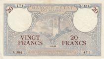 Morocco 20 Francs Minaret - 01-03-1945 - XF - R.1861-471 - P.18b