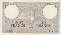 Morocco 20 Francs Minaret - 01-03-1945 - XF - R.1861-474 - P.18b