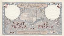 Morocco 20 Francs Minaret - 09-11-1942  - VF to XF  - Serial V.1429-734 - P.18b