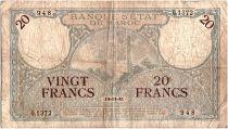 Morocco 20 Francs Minaret - 14-11-1941  -  Fine - Serial G.1372 - P.18b