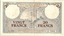 Morocco 20 Francs Minaret - 14-11-1941  -  VF - Serial A.1358 - P.18b