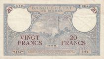 Morocco 20 Francs Minaret - 14-11-1941  -  VF to VF  - Serial Y.1347 - P.18b