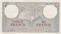 Morocco 20 Francs Minaret - 14-11-1941  -  VF to XF  - Serial G.1369 - P.18b