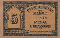 Morocco 5 Francs - 01-08-1943 - VF - P.24