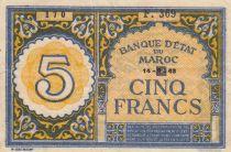 Morocco 5 Francs - 14-09-1943 - XF - P.33 Serial F.369
