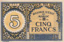 Morocco 5 Francs - 14-09-1943 - XF - P.33 Serial R.953