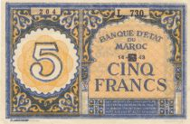 Morocco 5 Francs - 1943 - XF - P.33 Serial L.730