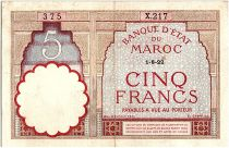 Morocco 5 Francs 01-08-1922 - VF - Serial X.217 - P.23Aa