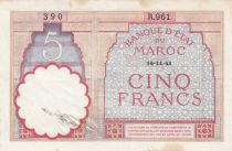 Morocco 5 Francs 14-11-1941 - Fine  - Serial  R.961 - P.23Ab