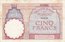 Morocco 5 Francs 14-11-1941 - VF  - Serial  C.1094 - P.23Ab