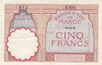 Morocco 5 Francs 14-11-1941 - VF  - Serial  U.899 - P.23Ab