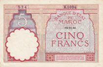 Morocco 5 Francs 14-11-1941 - VF  - Serial  X.1094 - P.23Ab