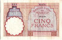 Morocco 5 Francs 14-11-1941 - VF - Serial K.474 - P.23Ab
