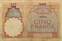 Morocco 5 Francs 14-11-1941 - VG to F