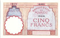 Morocco 5 Francs 14-11-1941 - XF +  - Serial O.663 - P.23Ab