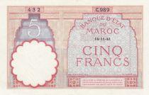 Morocco 5 Francs 14-11-1941 - XF  - Serial  C.989 - P.23Ab