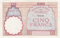 Morocco 5 Francs 14-11-1941 - XF  - Serial  N.1015 - P.23Ab