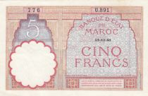 Morocco 5 Francs 14-11-1941 - XF  - Serial  U.891 - P.23Ab