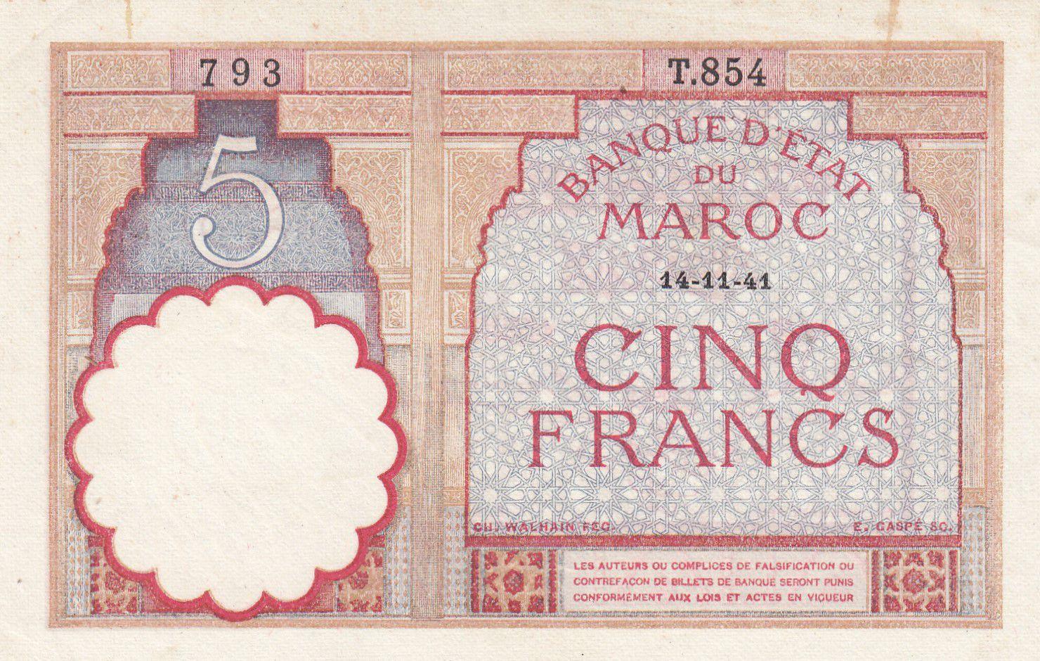 Morocco 5 Francs 14-11-1941 - XF  - Serial F.827 - P.23Ab
