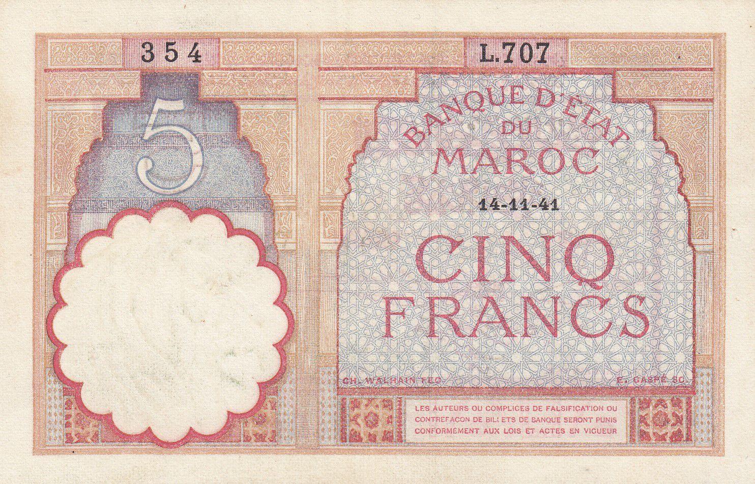Morocco 5 Francs 14-11-1941 - XF  - Serial L.707 - P.23Ab