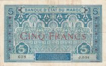 Morocco 5 Francs Blue and green - 1921 - Serial J.531 - VF - P.8