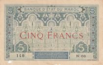 Morocco 5 Francs Blue and green - 1921 - Serial N.68 - Fine - P.8