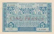 Morocco 5 Francs Blue and green - 1921 - Serial X.1128 - XF - P.9