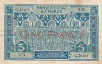 Morocco 5 Francs Blue and green - 1924 - Serial C.3199 - VF - P.9