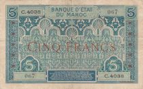 Morocco 5 Francs Blue and green - 1924 - Serial C.4038 - VF - P.9