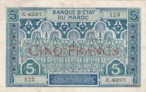 Morocco 5 Francs Blue and green - 1924 - Serial C.4297 -  VF to XF - P.9