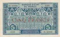 Morocco 5 Francs Blue and green - 1924 - Serial D.4068 - VF to XF - P.9