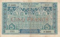 Morocco 5 Francs Blue and green - 1924 - Serial F.3961 - VF - P.9