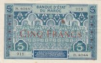 Morocco 5 Francs Blue and green - 1924 - Serial R.4044 - VF to XF - P.9