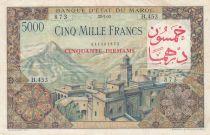 Morocco 50 Dirhams on 5000 Francs OVERPRINT 02-04-1953 - Serial B.453 - VF - P.51